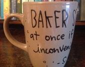 """Sale! Chipped Sherlock Holmes Mug - """"Baker Street. Come at once if convenient"""" Narrow, mocha brown mug - Sherlock and John Watson"""