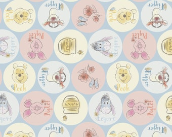 Springs Creative. Pooh and Friends Names - By the yard - Choose your cut of fabric