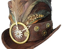 Tall Brown Top Hat About Time Steampunk Gypsy Victorian Gentlemens Dapper Cosplay Mens