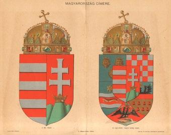 1896 Coat of Arms of Hungary Original Antique Chromolithograph
