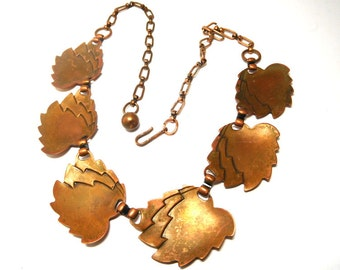 Vintage Copper Leaves Necklace Art Deco Nature Boho Style Layer or wear alone!