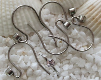 Stainless Steel  & Crystal Earring Hooks - 19mm x 14mm - CHOICE OF 12 or 24 pcs