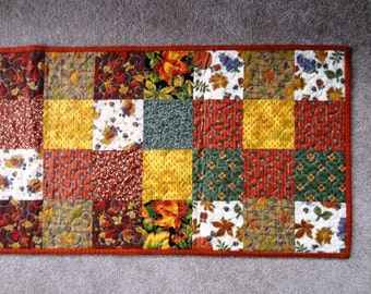 Falling Leaves Quilted Harvest Table Runner   Ready To Ship