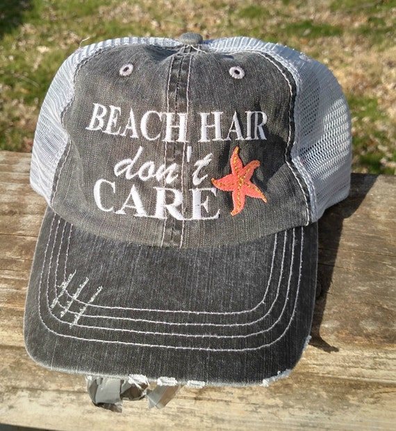 Beach Hair Don't Care wit Starfish Embroidered Trucker by ...