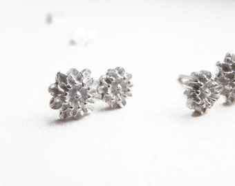 Two Small Chrysanthemums - Sterling Silver Earrings