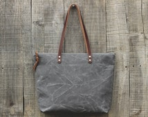 Waxed Canvas Tote Bag // Zipper Top // Leather Straps // STORM GRAY