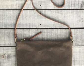 The STANDARD Cross Body Bag in COCO  //  Waxed Canvas Bag Purse