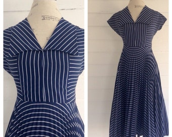 Vintage NAUTICAL 80s-does-50s Navy & White Striped Dress w Full Accordion Skirt and Sailor Collar