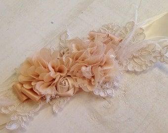 Champagne Beige & Soft Ivory Sash, Vintage Sash, Rustic Chic Floral Sash, Rosette Sash, Bridal Sash, Bridal Belt, Floral Sash, Rustic Sash