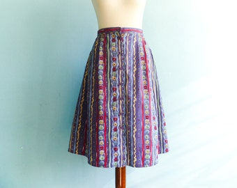 Vintage Floral Skirt Buttoned up down Violet Multicolor Folk Hipster Boho Midi Below Knee / medium