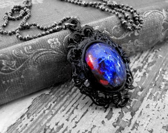 Dragons Breath Necklace Sterling Silver Fire Opal Necklace Wiccan Jewelry Gothic Jewelry Dragon's Breath Opal Necklace Statement Jewelry