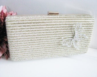 Hard Case Fabric Wedding Bag Clutch Formal Evening Bag with Crystals Accent Brooch fashion bag