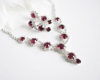 Fuchsia 2 piece set Wedding Necklace Bridal Necklace - Bridal Jewelry - Wedding Necklace - bridal set- Backdrop Bridal Necklace
