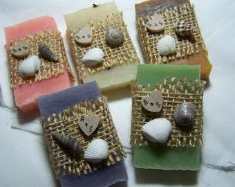 Beach wedding favors, 30 bridal shower favors soaps, seashells soaps. mini soaps, assorted colorful set