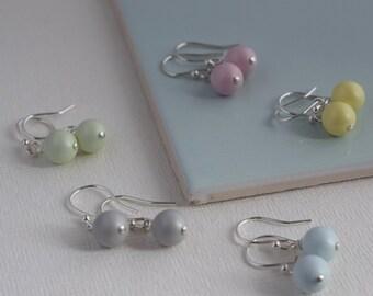 Pastel Bridesmaid Earrings, Pearl Earrings, Pastel Earrings, Pastel Wedding, Bridesmaid Gift, Wedding Gift