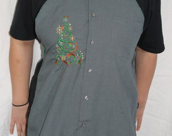 Handmade Apron embroidered with a beautiful decorated Christmas Tree made from Man's dress Shirt