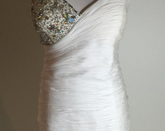 Halloween Beautiful White Gathered Sequins Beaded Formal Dress