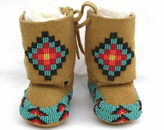 Beaded Natural Color Elk Leather Baby Moccasins