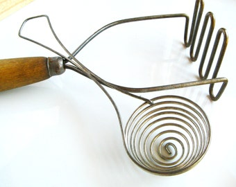 Vintage Egg Separator and Potato Masher - Lightly Rusted and Rustic