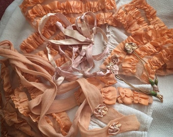 This Antique Salvaged Ribbonwork Is A Soft Peachy Dream