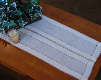 Antique Linen Table Runner with Drawn Work and Crochet Edge