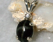 Black Star Diopside Accented Pendant.