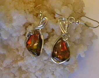 Bright Red to Orange & Green Gem Ammolite as Pebble Jewelry from Utah Deposit in Argentium Sterling Silver Wire Wrapped Post Earrings 479
