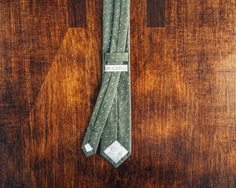 Olive Pin Dot Skinny Tie