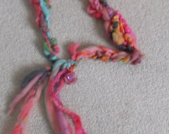 Soft Art Yarn Necklace with Hand Made Lampwork Glass Bead