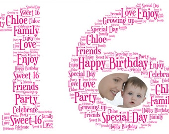 16th Birthday Word Art option to include your own photo