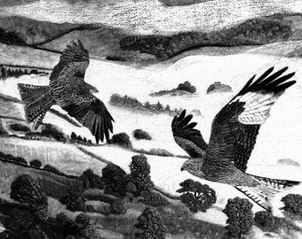 Art Card Blank Red Kites - Misty Morning