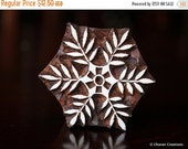 THANKSGIVING SALE Soap Stamp, Pottery Stamp, Textile Stamp, Indian Wood Stamp, Tjaps- Small Flower/Snowflake