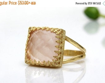 25% OFF SALE - October love ring,gold ring,rose quartz ring,square ring,pink rings,classic ring,delicate ring,vintage ring