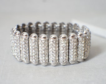 Vintage Crystal Cuff - Antique Crystal Bracelet Cuff - Art Deco Crystal Cuff - Vintage Crystal Wedding Bracelet - Crystal Flapper Jewelry