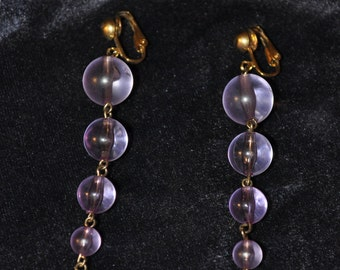 Vintage Long Amethyst Beaded Earrings