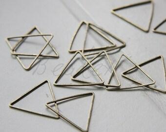 20 Pieces / Antique Brass / Brass Base / Tirangle / Ring / Link 21mm (C1972//-B402)