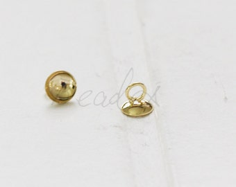 4 Pieces / Gold Plated / Brass Base / Glue On / Cap 6x5mm (C1803//)