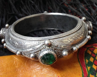 Rare Old Silver Bracelet with Red, Blue, Green Glass, Berber, S Morocco, small size