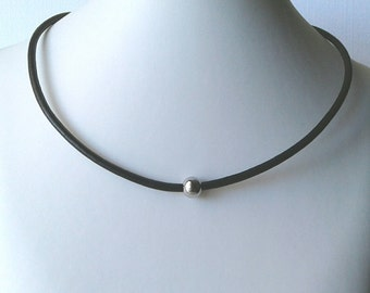 Solitaire single stainless steel bead black natural leather cord simple minimalist cowhide necklace choker