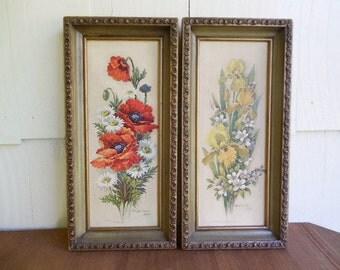 Pair of Robert Laessig Framed Floral Prints: Poppies & Irises