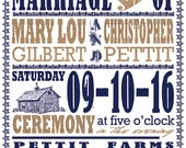 RUSH Farm Poster Wedding Invitations, Navy and Burlap, DIY Wedding, Custom Listing for stephaniegennaro