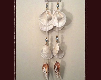 Sea Shell Suncather Windchime Yessoensis Pectens w/Crystals, Beach/Coastal/Nautical Decor, Patio/Yard/Garden Decor