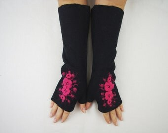 Long Felted Fingerless gloves Fingerless Mittens Arm warmers Gloves -Black Orange