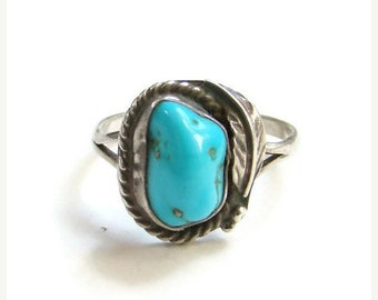 ON SALE Turquoise Sterling Silver Ring Navajo Style Size 10.75 Native American Indian Jewelry