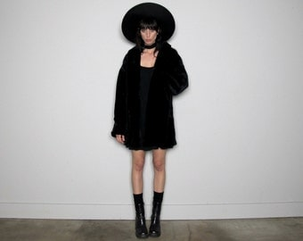 Black FAUX FUR Cocoon Style Vintage Coat Womens Winter Size XL