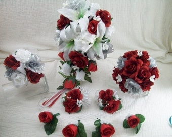 Red White, And Silver Lily And Rose Cascade Bridal Bouquets Boutonnieres and Corsages Silk Wedding Flowers made to order