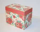 READY TO SHIP - Coral and Mint Recipe Box, 4x6 Wood Box, Floral Recipe Box, Polka Dot Recipe Box, Keepsake Box, Recipe Organizer