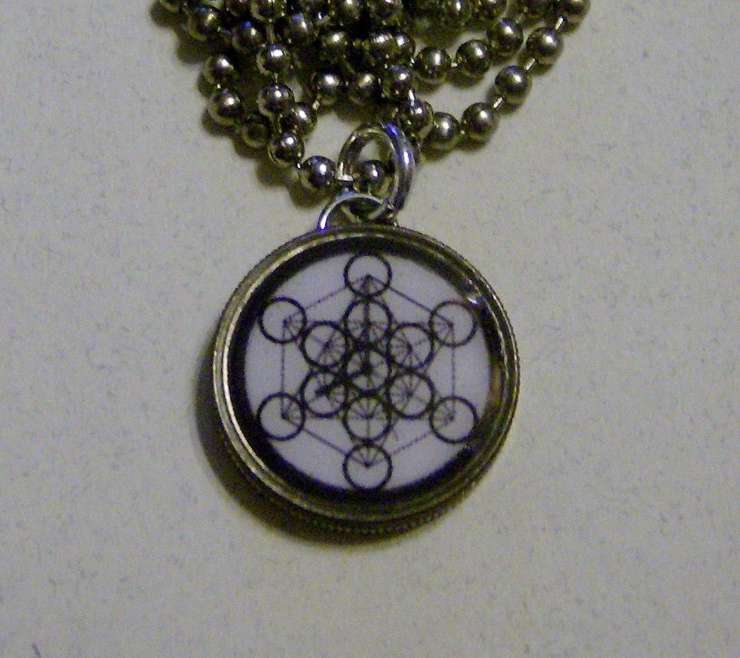 Sacred geometry metatron 39 s cube dime pendant charm by for Metatron s cube jewelry