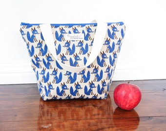 Insulated Lunch Tote Bag with Waterproof Lining - Fox (Choose Your Size and Color!)