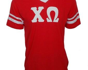 Chi Omega - Stripe Sleeve T-shirt Jersey